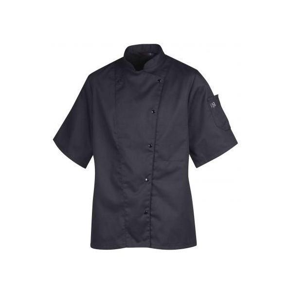 Veste de cuisine femme manches courtes MANILLE noire ou blanche
